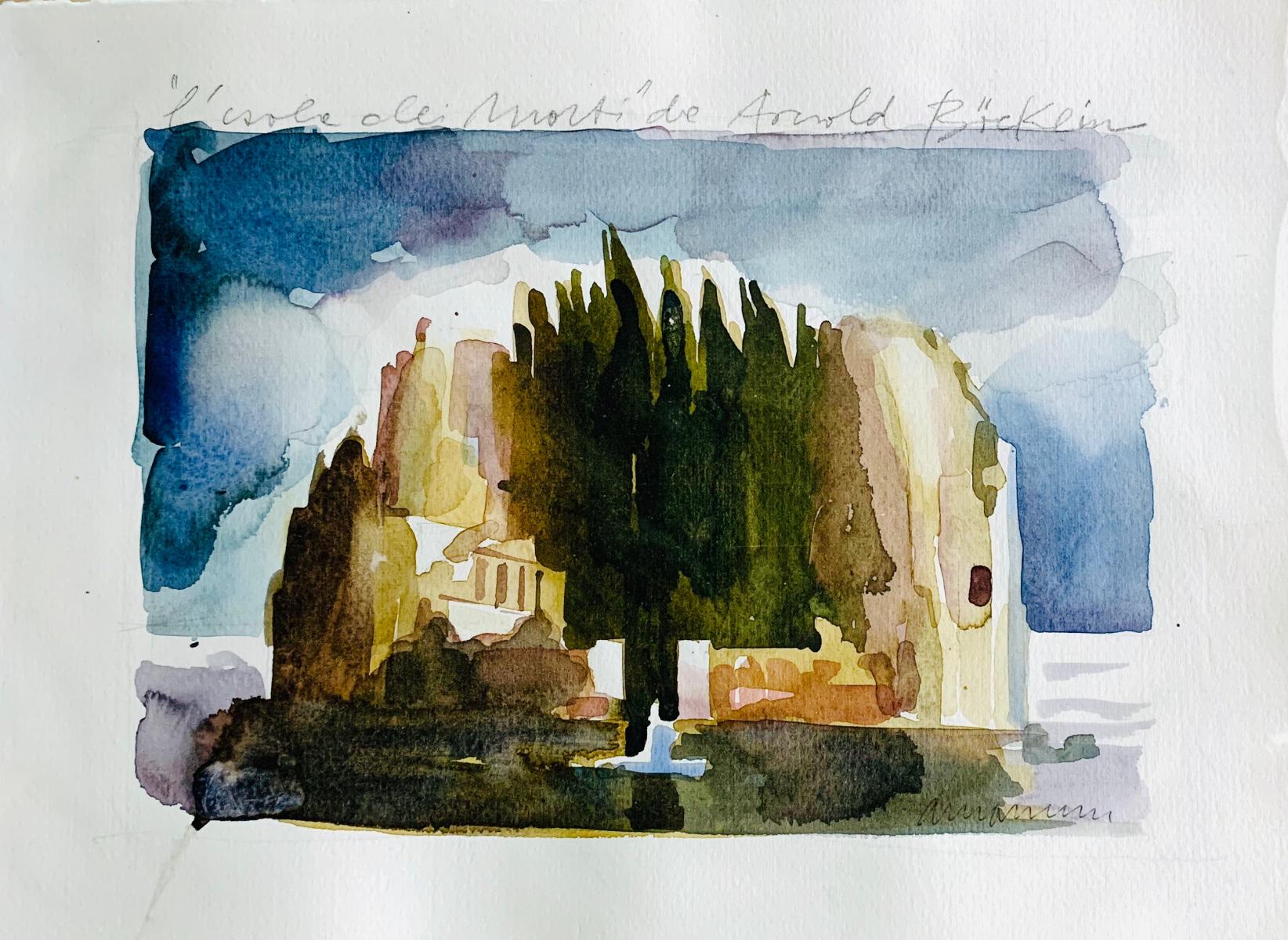 Arnold Boecklin Tribute, 2016, watercolor, 25x35 cm