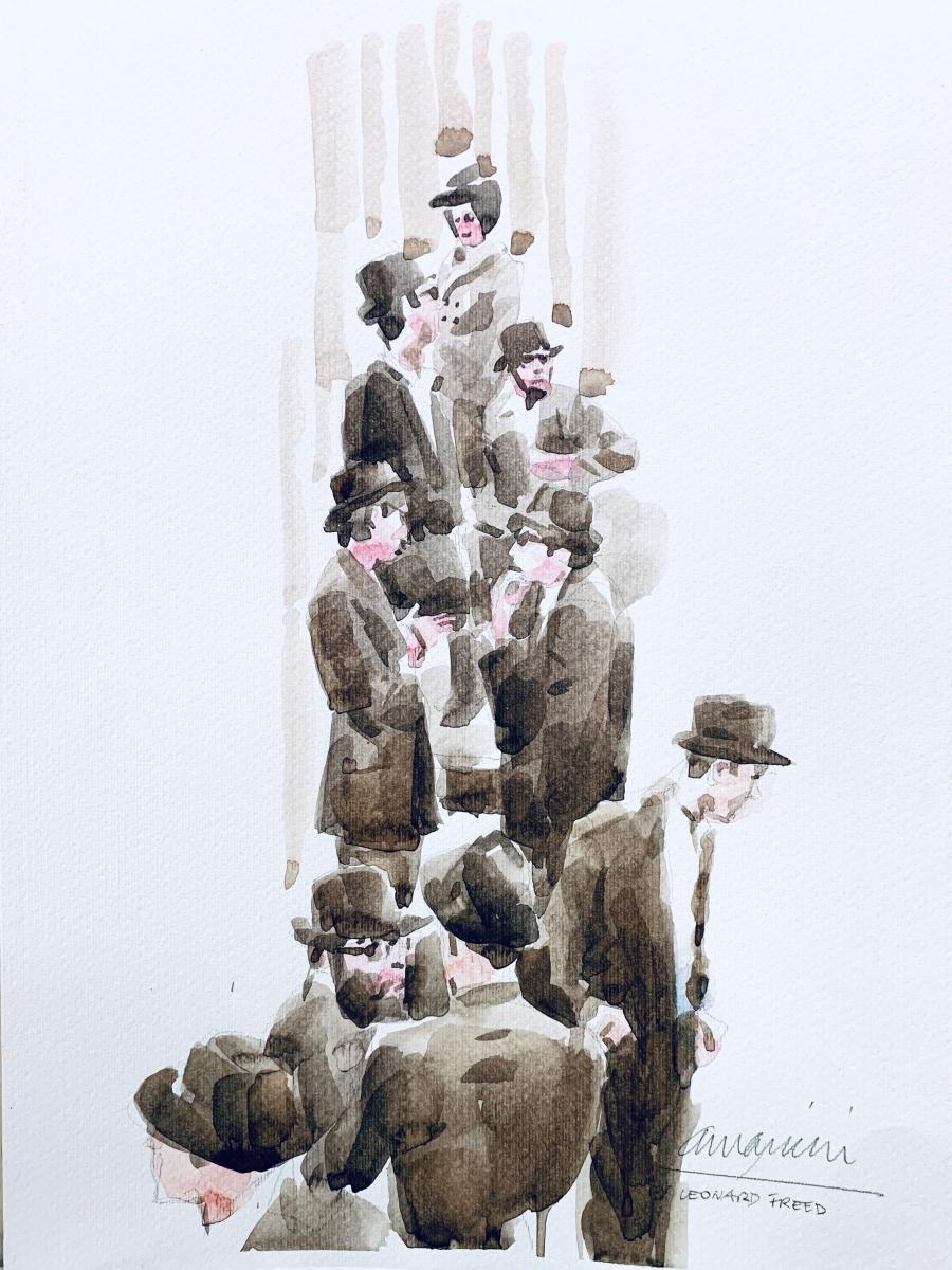 Leonard Freed Tribute, 2019, watercolor, 50x35 cm