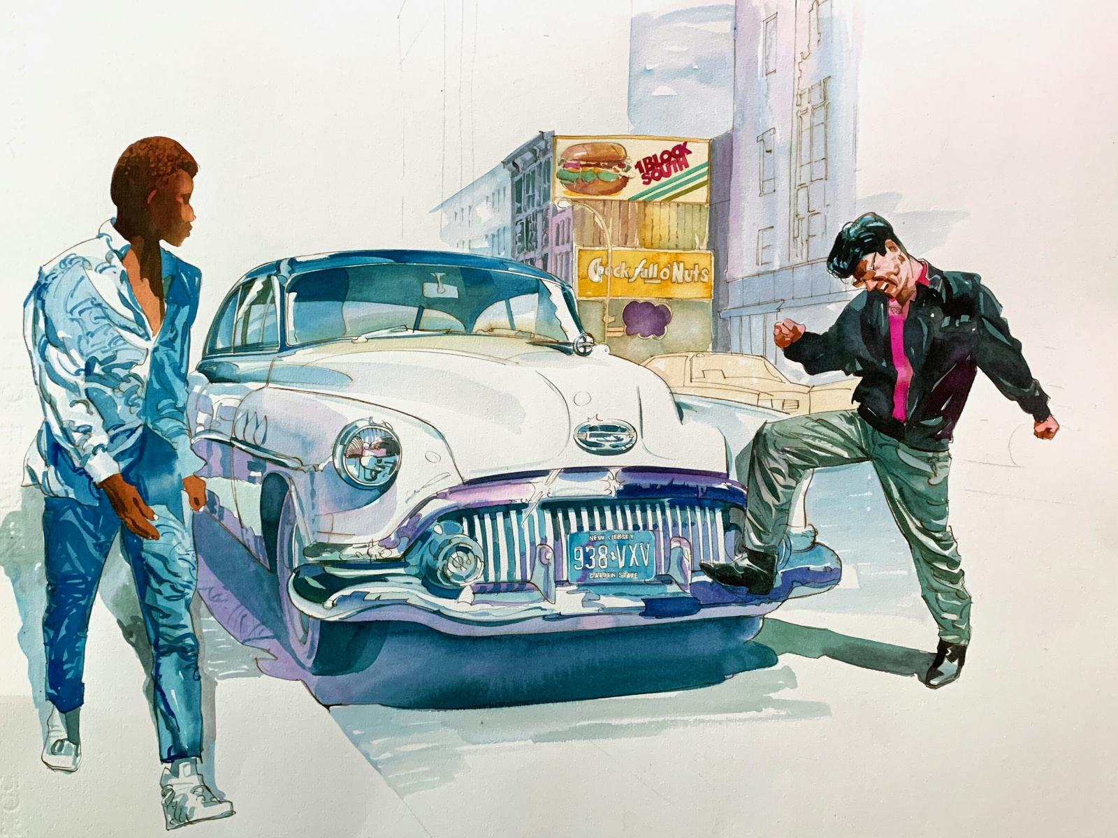 New York 1983, watercolor, 50x70