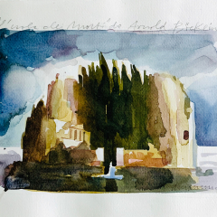 Arnold Boecklin Tribute, 2016, watercolor, 25x35 cm