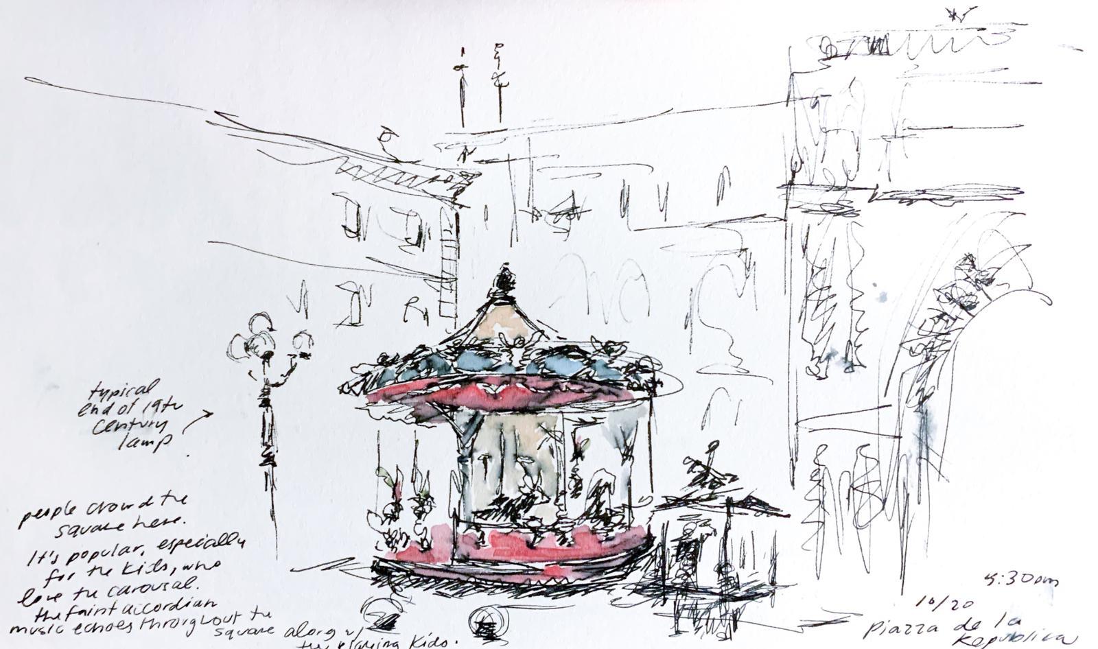 Aleksandra Tsangarides Hinsdale, Massachusetts Endicott College size A4 Pen on paper Piazza della Repubblica